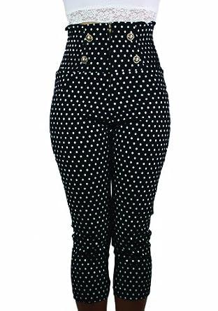 Sidecca Polka Dot Retro Rockabilly 4-Gold Button Smock High Waist Capri-Black-Small