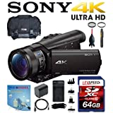 Sony FDR-AX100/B 4K Video Camera with 3.5-Inch LCD (Black) w/ 64GB Deluxe Accesory Kit
