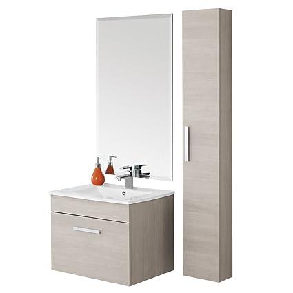 Composizione mobile pensile bagno consolle ceramica specchio mensola 606056