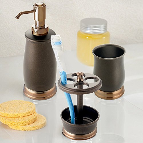 Mdesign metal bath accessory set soap dispenser toothbrush holder tumbler 3 pieces two for Two tone bathroom accessories