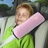 Vine Seguridad infantil cinturon Asiento de coche cinturón hombro cojín reposacabezas almohada para dormir para niños almohada cervical?Rosado?