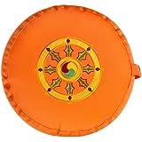 Meditationskissen Glückssitz Rondo Dharmarad orange, 33 cm x 17 cm, Bezug und Inlett 100 % Baumwolle, Füllung Buchweizenschalen, Bezug und Inlett maschinenwaschbar bis 30º C