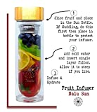 The Nalu Sun Bottle: Glass Water Bottle, Fruit Infuser, Coffee Maker & Insulated Tea Tumbler - Reusable All-in-One - With Our BPA-free Silicone Stopper No Plastic Touches Your Water, Ever -15.8ounces