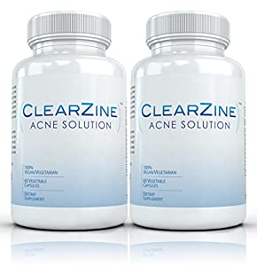 Clearzine (2 Bottles) - The Top Rated Acne Treatment Pill. Eliminates Acne, Blackheads, Redness, Blotchiness and Zits - 60 capsules each