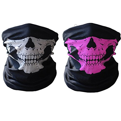 GAMPRO Breathable Seamless Tube Skull Face Mask, Dust-proof Windproof Motorcycle Bicycle Bike Face Mask for Cycling, Hiking, Camping, Climbing, Fishing, Hunting, Motorcycling (Black&Pink) (Motorcycle Accessories For Women compare prices)