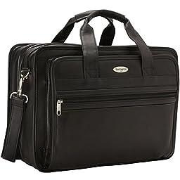 Samsonite Expandable Leather Computer Briefcase - Black