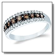 10k White Gold Round Cut White and Brown Chocolate Diamond Womens Ladies Anniversary Fashion 5mm Ring Band (1/2 cttw)