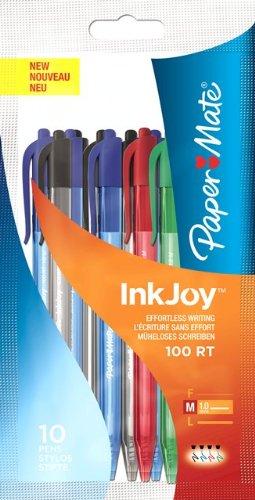 paper-mate-inkjoy-100-rt-stylo-bille-retractable-pointe-moyenne-assortiment-standard-lot-de-10