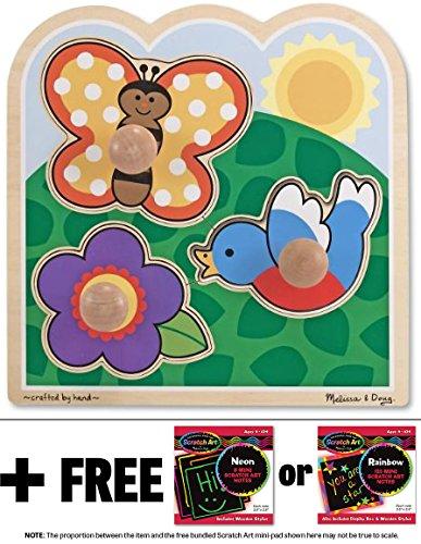In the Garden 'Jumbo Knob' Puzzle + FREE Melissa & Doug Scratch Art Mini-Pad Bundle [33930]