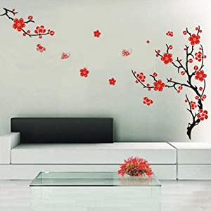 Red blossom flowers tree wall stickers mural art decal for Amazon mural wallpaper