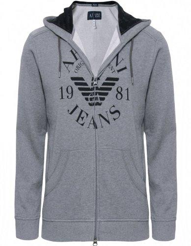 Armani Jeans Men's Sweater Grey Hooded Sweatshirt L