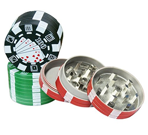 3 PCS Poker Chip Herb Grinder With Pollen Catcher (Color May Vary) (Weed Grinder Poker Chip compare prices)