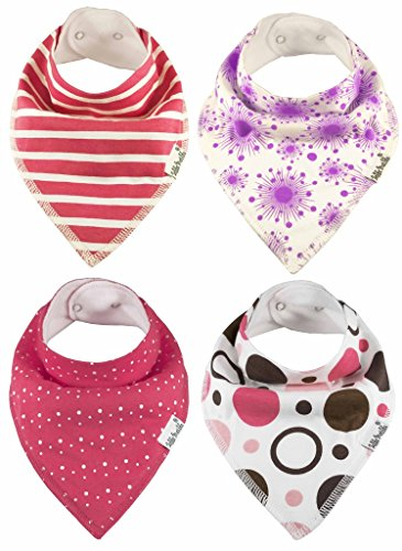 Baby Bandana Bibs by ZELDA MATILDA Extra Long Absorbent Adjustable Bib Made of Organic Cotton and Fleece, for Teething Drool and Feeding - A Must Buy To Keep Baby's Clothes and Neck Dry (4 Pack)