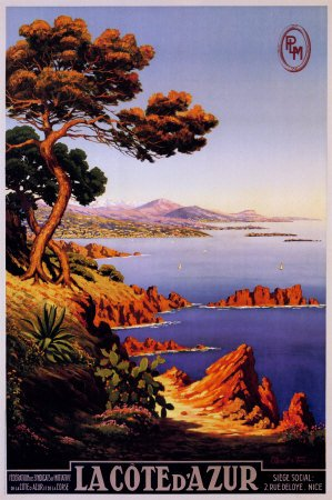 La Cote d'Azur Riviera Vintage Ad Art Print Maxi Poster - 61x91 cm