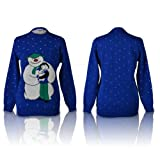 SHUKAN FASHIONS - NEW WOMEN LADIES CHRISTMAS NOVELTY SNOWMAN AND CHILD RABBIT ROYAL BLUE KNITTED JUMPER