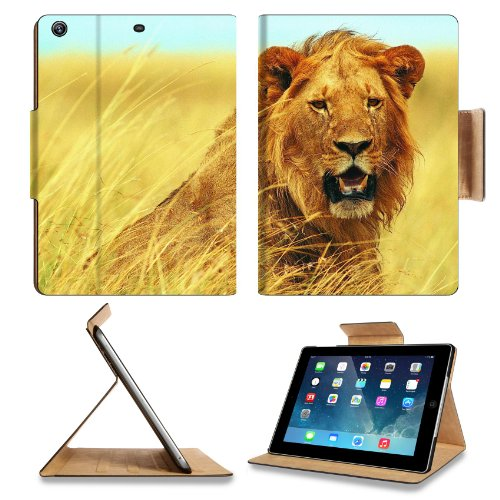 Animal Wildlife Lion Mane King Grassland Africa Predator Cat Apple Ipad Air Retina Display 5Th Flip Case Stand Smart Magnetic Cover Open Ports Customized Made To Order Support Ready Premium Deluxe Pu Leather 9 7/16 Inch (240Mm) X 7 5/16 Inch (185Mm) X 5/8 front-617787
