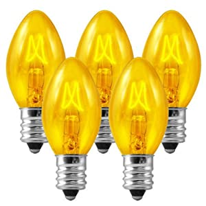 C7 - Transparent Yellow - Double Dipped - 5 Watt - Candelabra Base - Christmas Lights - 25 Pack
