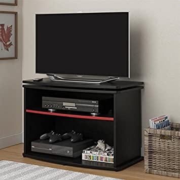Tv Entertainment Center with Swivel Design, This Furniture Stand Includes 2 Large Shelves for Ample Storage Space