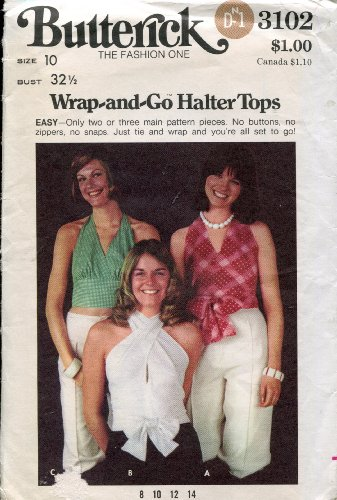 1970s Butterick Pattern 3102 ~ Wrap-and-Go Halter Tops ~ Size 10 (Bust 32 1/2)