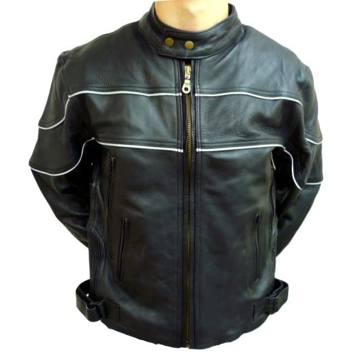 Mens Black Leather Motorcycle Jacket with Scotchlite Reflective   Leatherbull(Free U.S. Shipping)
