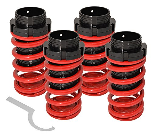 Fits Eclipse Sentra Tercel Corolla Adjustable Suspension Lowering Spring Coilover Coil Over Aluminum Scaled Sleeves 4 Piece Sport Street Track Racing Drifting Kit Set Red Black (Coilover Toyota Tercel compare prices)