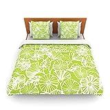 "Kess InHouse Jacqueline Milton ""Vine Shadow-Lime"" Green Floral King Fleece Duvet Cover, 104 by 88-Inch"