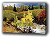 Landscape Mountain Autumn of Giclee Print Canvas Art with Oil Brush