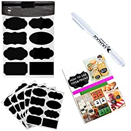 Ningmi 40 Chalkboard Labels with 1PCS White Liquid Chalk Marker for Jars, Reusable DURABLE Self-Adhesive Stickers - 40 Labels (5 sheets) - Organize Pantry Now!