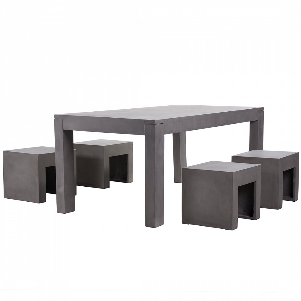 gartenm bel aus beton tisch mit vier st hlen. Black Bedroom Furniture Sets. Home Design Ideas