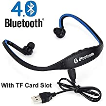 AT Shopping Wireless Bluetooth In-ear Headset Headphones (with Micro Sd Card Slot FM Radio) Compatible For Celkon A119Q Signature HD - Color May Vary