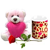 Love Gifts For Her - HomeSoGood Celebrate Valentine's Day Everyday White Ceramic Coffee Mug With Teddy & Red Rose - 325 ml