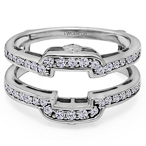 Cubic Zirconia Square Halo Style Wedding Ring Guard Mounted In Sterling Silver (0.49 Ct. Twt. Of Cubic Zirconia)