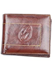 Gold Filled Brown Leather Wallet-Brown Formal Wallet-Men Formal Wallet
