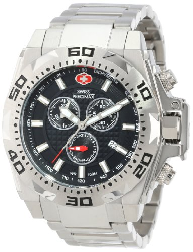 Swiss Precimax Men's SP13178 Quantum Pro Black Dial Silver Stainless-Steel Band Watch
