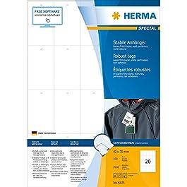Herma 6871 Lot de 2000 étiquettes à suspendre en papier/film/papier 41 x 70 mm (Blanc)