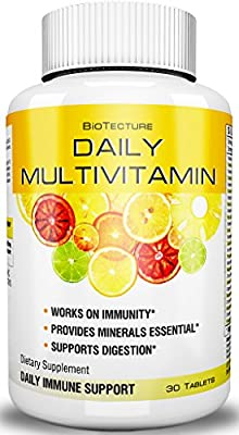 Daily Multivitamin Tablets - Best Dietary Supplement Formula! Helps Immune System, Provides Essential Minerals, Supports Digestion. Number One Vitamin Combination! Money Back Guarantee!