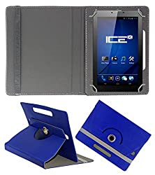 ACM ROTATING 360° LEATHER FLIP CASE FOR ICE SPECTRA PLUS + 3G TABLET STAND COVER HOLDER DARK BLUE