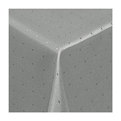 """Damast Tischdecke Maßanfertigung im """"Punkte-Design"""" in grau-silber 120 cm breit, Länge wählbar von Texmaxx - Gartenmöbel von Du und Dein Garten"""