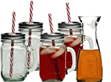 Mason Jar 13 pc Set - Includes 4 Mason Jars with Handles and Lids, 4 Reusable Straws, and a matching Carafe Pitcher