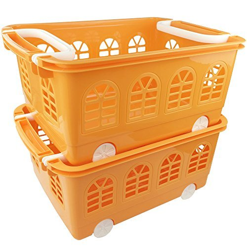 Nicesh Baby Stacking Storage Baskets With Wheels, 2-pack, 17.72 x 12.40 x 7.68 (Orange) (Baskets With Wheels compare prices)