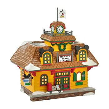 Department 56 Disney Village Mickeys Train Station Lit House, 6.89-Inch