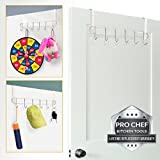 Over the Door Hangers 6 Hook Organizer Rack Hanger Clothes Coat Towel Holder Quality Heavy Duty Stainless Steel Storage Hooks - No Hole Drilling Required