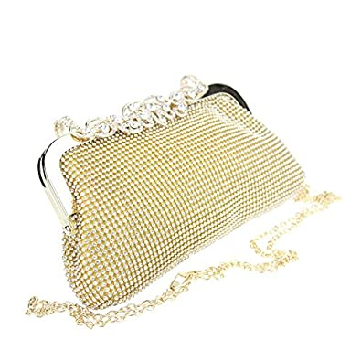 Aarz Women Ladies Evening Clutch Bag Wedding Purse Party Prom Bridal Bag(Gold Silver) (Gold ...