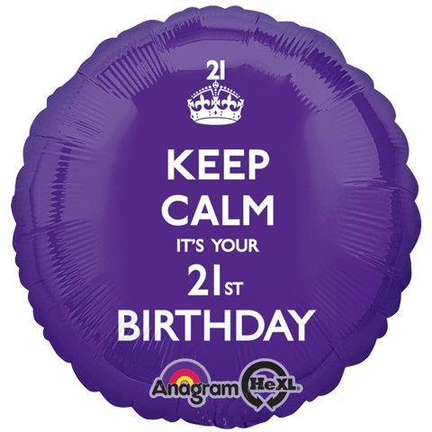 Amscan Keep Calm It's Your 21th Birthday Foil Balloon HS40, Purple