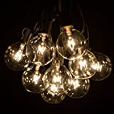 25 Foot Globe Patio String Lights - Set of 25 G50 Clear Bulbs with Black Cord