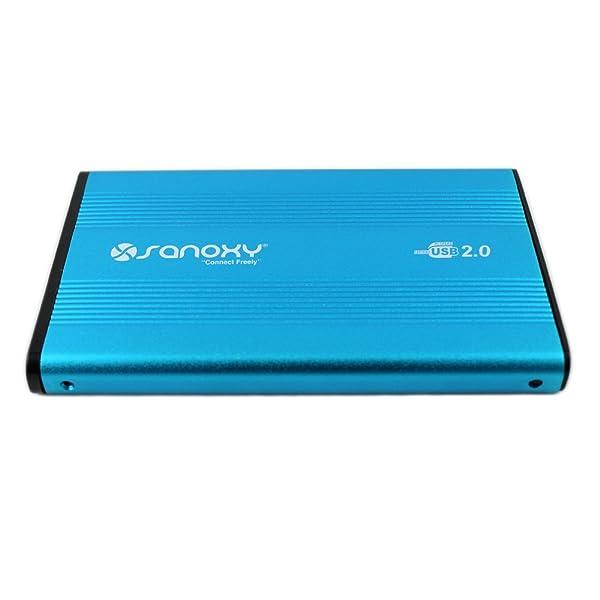 Caja externa de disco duro de aluminio de USB 2.0 a IDE/PATA 2.5, con capacidad máxima de 500 GB, color azul.