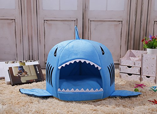 Cat Bed Cave, M&G House® Blue Shark Pet House with Removable Bed Cushion Mat for Large Cat Dog Cave Bed ,Waterproof Bottom Most Lovely Pet House Gift M