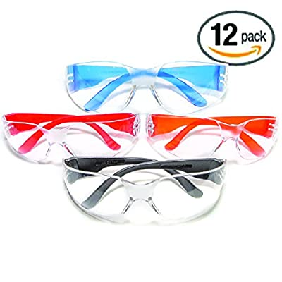 The ULTIMATE Safety Glasses, 12 Pack Clear Lenses, Scratch Resistant, Impact Resistant, UV Protection