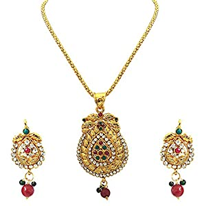 Surat Diamonds Charming Beauty Colored Stone Pendant Necklace & Earring Set for Women (PS242)