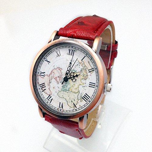 Men'S Women'S Vintage Big Dial Roman Style Buckle Quartz World Map Wrist Watch Red